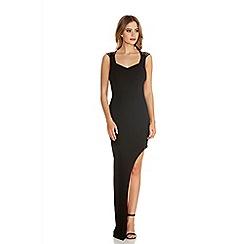 Quiz - Black Strap Cut Out Back Asymmetric Maxi Dress