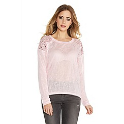 Quiz - Pink Sequin And Studs Shoulder Top
