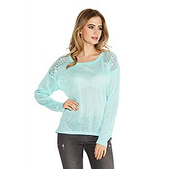 Quiz - Aqua Sequin And Studs Shoulder Top