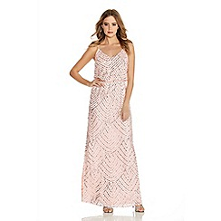 Quiz - Blush Pink and Silver Sequin V Neck Strappy Dress