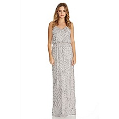 Quiz - Grey and Silver Sequin V Neck Strappy Dress