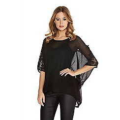Quiz - Black light knit lace diamante batwing top