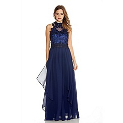 Quiz - Navy Chiffon High Neck Lace Waterfall Maxi Dress