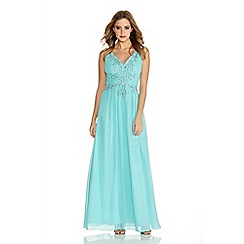 Quiz - Aqua Chiffon V Neck Embroidered Maxi Dress