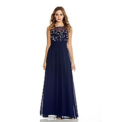 Quiz - Navy Beaded Flower Pattern Maxi Dress