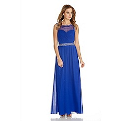 Quiz - Royal Blue Chiffon Mesh Embellished Maxi Dress