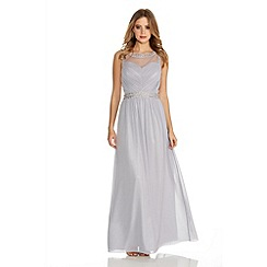 Quiz - Grey Chiffon Mesh Embroidered Maxi Dress