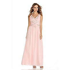 Quiz - Pink Chiffon V Neck Embroidered Maxi Dress