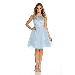 Quiz - Pale Blue Glitter Mesh Flower Prom Dress