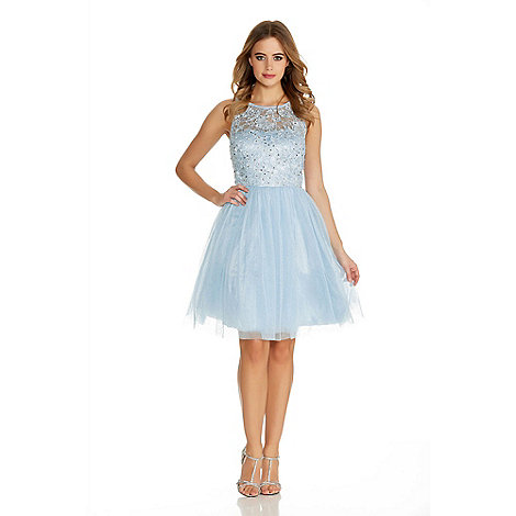 Quiz Pale Blue Glitter Mesh Flower Prom Dress- | Debenhams