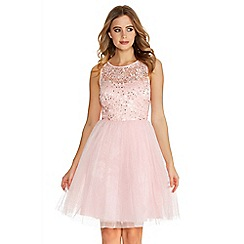 Quiz - Pale Pink Glitter Mesh Flower Prom Dress
