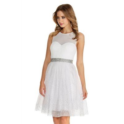 Quiz White And Silver Chiffon Glitter Prom Dress