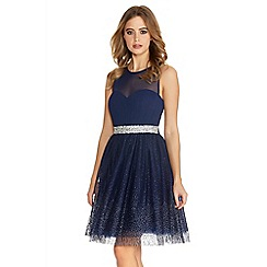 Quiz - Navy And Silver Chiffon Glitter Prom Dress
