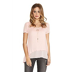 Quiz - Pink Light Knit Chiffon Necklace Top