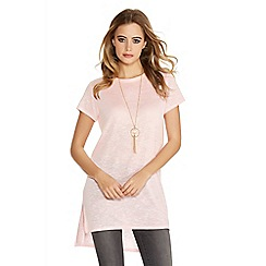 Quiz - Pink light knit side split necklace top