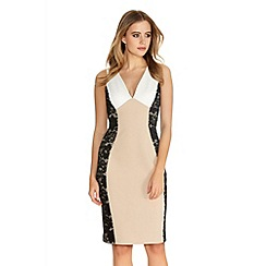 Quiz - Cream And Black Lace Panel Midi Dress
