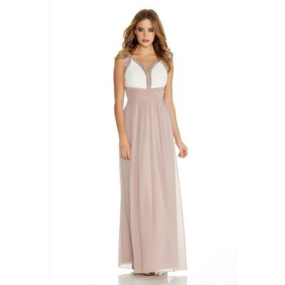 Quiz Mocha And Cream Chiffon Embellished Maxi Dress - . -
