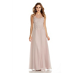 Quiz - Mocha Lace Chiffon Sequin Maxi Dress