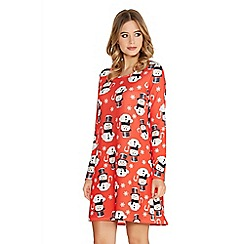 Quiz - Red Crepe Snowman Long Sleeve Swing Dress