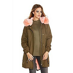 Quiz - Khaki And Pink Faux Fur Hood Jacket