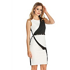 Quiz - Cream and black peplum belt dress