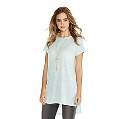 Quiz - Aqua light knit side split necklace top