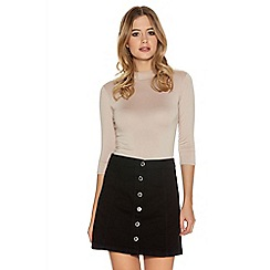 Quiz - Black Denim A Line Button Skirt