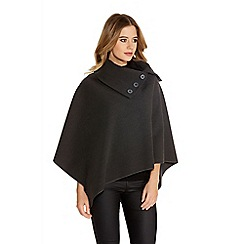 Quiz - Grey Felt Button Cape