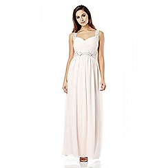 Quiz - Blush Pink Chiffon Pleated Diamante Maxi Dress
