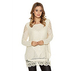 Quiz - Champagne sequin knit chiffon long sleeve jumper