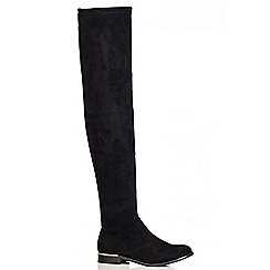 Quiz - Black Faux Suede Over The Knee Flat Boots