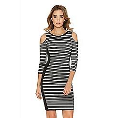 Quiz - Black And Cream Cut Out Shoulder Dress