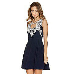 Quiz - Navy And Cream Textured Crochet Neck Trim Dress