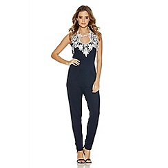 Quiz - Navy And Cream Textured Crochet Neck Trim Jumpsuit