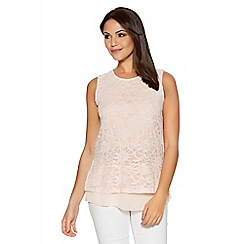 Quiz - Blush Glitter Lace Sleeveless Chiffon Hem Top