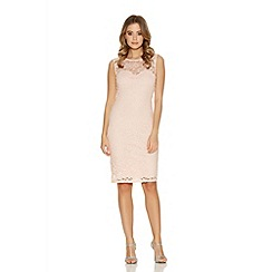 Quiz - Blush Glitter Lace Sweetheart Neck Dress