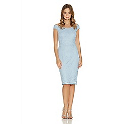 Quiz - Pale Blue Glitter Lace Bardot Midi Dress