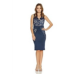 Quiz - Navy And Cream Lace Panel Cut Out Back Midi Dress