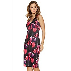 Quiz - Black And Pink Flower Print Midi Dress
