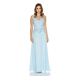 Quiz - Pale Blue Chiffon V Neck Embellished Maxi Dress