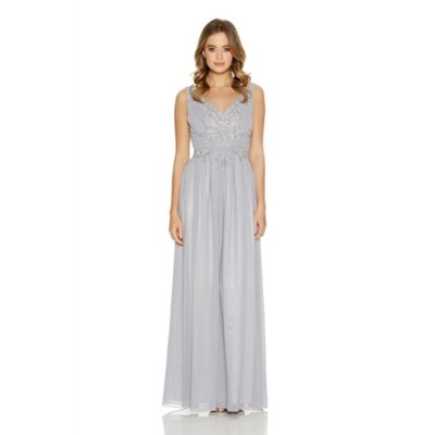 Quiz Grey Chiffon Embroidered Maxi Dress