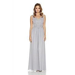 Quiz - Grey Chiffon Embroidered Maxi Dress