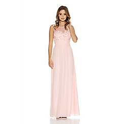Quiz - Pink Chiffon Flower Embellished Maxi Dress