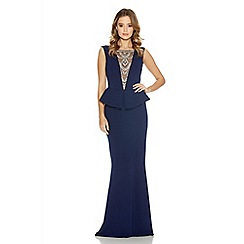 Quiz - Navy Crepe Diamante Trim Fishtail Maxi Dress
