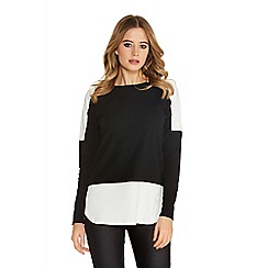 Quiz - Black and cream crepe long sleeve top