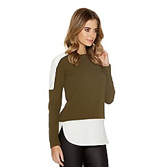 Quiz - Khaki And Cream Crepe Long Sleeve Top