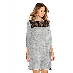 Quiz - Grey Light Knit Lace Detail Swing Dress