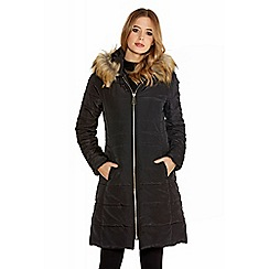 Quiz - Black Long Padded Faux Fur Hood Jacket
