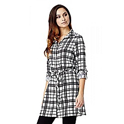 Quiz - White Crepe Check Print Tie Belt Shirt Dress