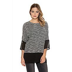 Quiz - Grey Knit Chiffon Hem And Cuff Top